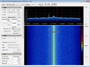 Figure 5 SDR# software, showing narrowband emission at 162 MHz