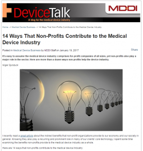 Non-Profits Contribute to Medical Device Industry
