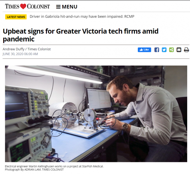 TIMES COLONIST: Upbeat signs for Greater Victoria tech firms amid pandemic