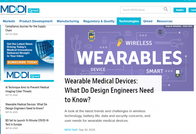 MDDI: Wearable Medical Devices: What Do Design Engineers Need to Know?
