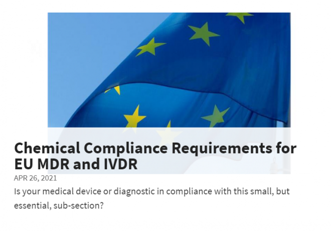 MD+DI: Chemical Compliance Requirements for EU MDR and IVDR