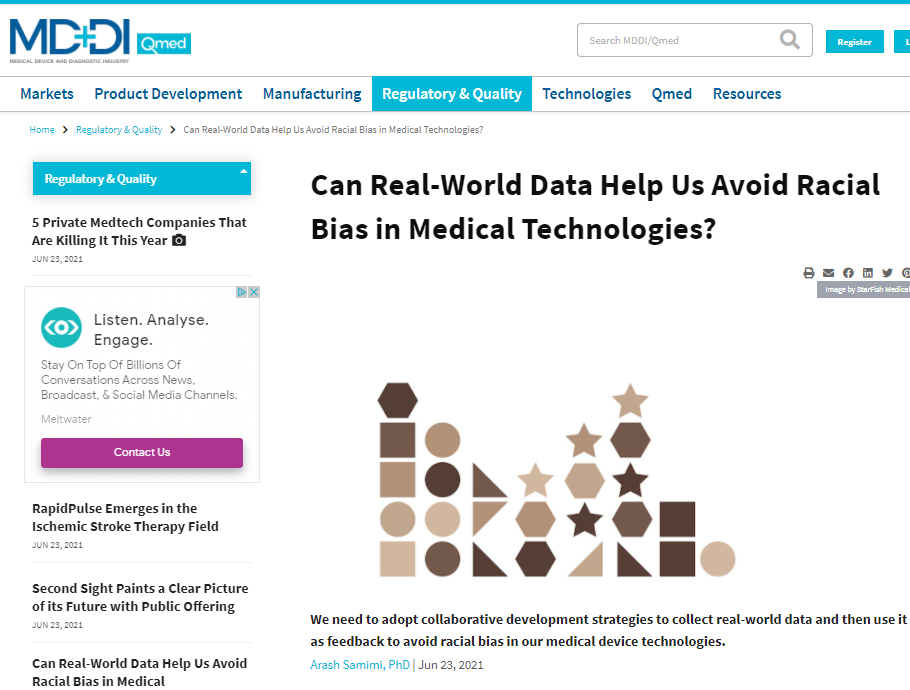 MDDI: Can Real-World Data Help Us Avoid Racial Bias in Medical Technologies?