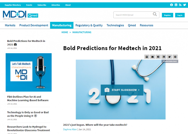 Bold Predictions for Medtech in 2021