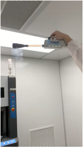 Particle Counter being used