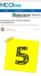Five Reasons Your Project Might be Underestimated