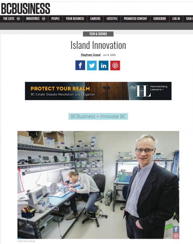 BCBusiness:  StarFish Medical featured in Island Innovatio