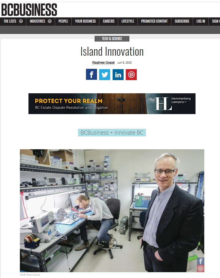 BCBusiness:  StarFish Medical featured in Island Innovatio