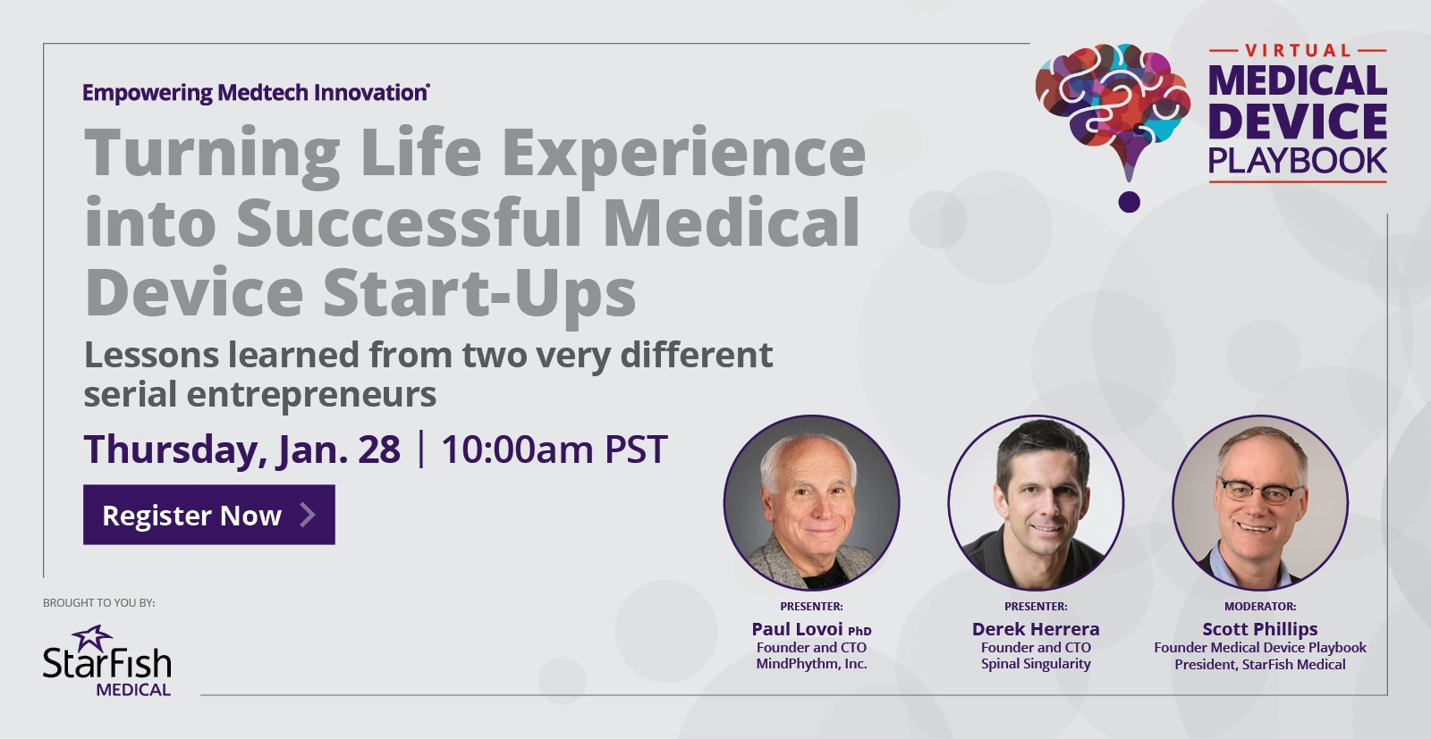 January 28 Webinar: Turning life experience into successful medical device start-u