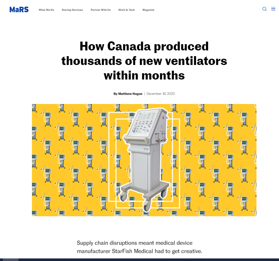 MaRS News: How Canada produced thousands of new ventilators within month