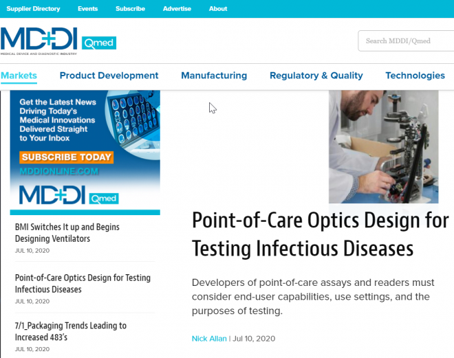 MD+DI: Point-of-Care Optics Design for Testing Infectious Disease