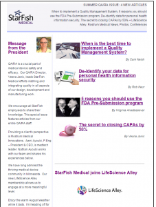 QA RA StarFish Medical News