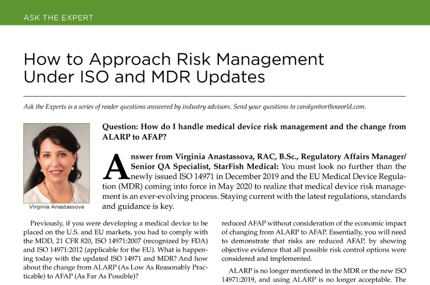 BoneZone Journal: Risk Management Under ISO and MDR