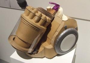cardboard prototype of Dyson vacuum