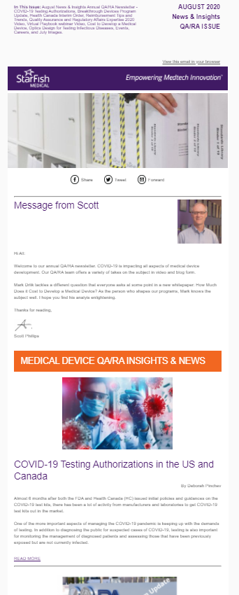 August 2020 Medtech News & Insights Annual QA/RA Newsletter